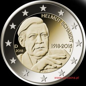 2018 Germany - Helmut Schmidt's 100th birthday, 2 euros