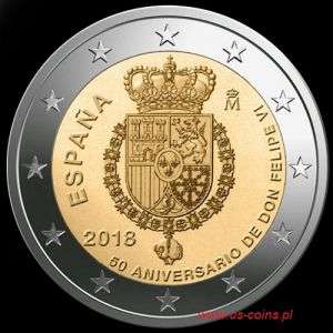 2018 Spain - 50th anniversary of the birth of King Philip VI 2 euros